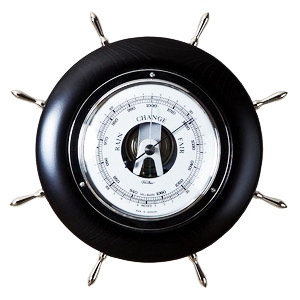 F1701-06 BAROMETER I SORT TRE OG CHROME - DIAMETER:165 MM