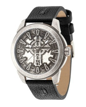 PL14637JSQS-57 POLICE MYSTERY ANTIQUE SILVER KORS - D:50 MM