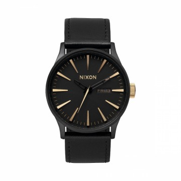 A1051041 NIXON SENTRY LEATHER - MATTE BLACK / GOLD - DIAMETER:42 MM